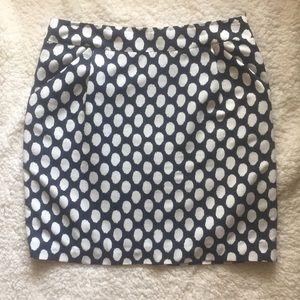 Ann Taylor Loft Polka dot Navy Skirt